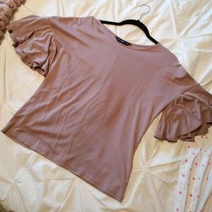 Top with ruffle sleeve